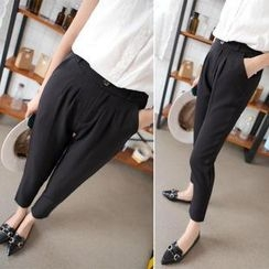 Angel Shine - Elastic-Waist Slim-Fit Cropped Pants