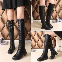 Sleeko - Lace-Up Tall Boots
