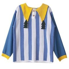 Isadora - Applique Collar Striped Sweater