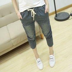Lina Cota - Striped Drawstring Waist Washed Jeans