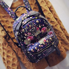 Seok - Studded Rose Print Faux Leather Backpack