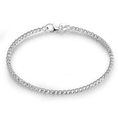 MaBelle - 14K Italian White Gold Diamond-Cut Beads Bangle (55mm), Women Girl Jewelry in Gift Box