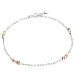 MaBelle - 14K Tri-Color White Yellow Rose Gold Station Tri Beads Anklet  (23cm)