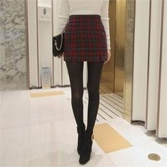 TOM & RABBIT - Slit-Hem Plaid Mini Skirt