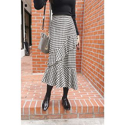 CHERRYKOKO - Asymmetric Ruffled Gingham Midi Skirt