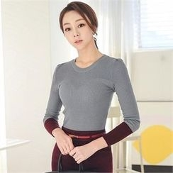 ode' - Color-Block Rib-Knit Top