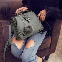 Lamia - Studded Crossbody Bag with Pom Pom Charm