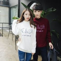 Simpair - Couple Matching Letter Embroidered Mock Neck Sweater