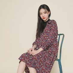 Envy Look - Layer-Neck Floral Pattern A-Line Dress