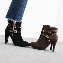 VIVIER - Studded-Detail Faux-Suede Booties