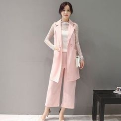 Ashlee - Set: Lace Long-Sleeve Top + Double-Breasted Long Vest + Wide Leg Pants