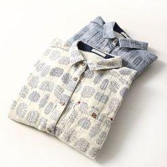 兰芝 - 印花长袖衬衫