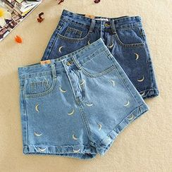 Ashlee - Embroidered High-Waist Denim Shorts