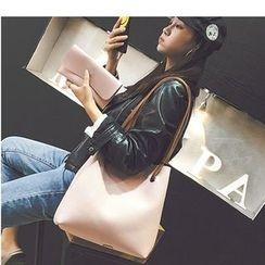 Aishang - 两件套: 仿皮手提袋 + 长款钱包