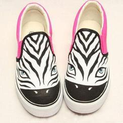 HVBAO - Zebra Print Slip-Ons