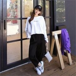 QNIGIRLS - Band-Waist Seam-Front Pants