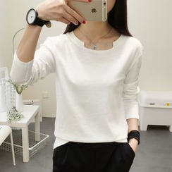 SimplyMe - Long-Sleeve Notch Neck T-Shirt