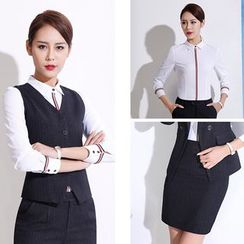Princess Min - Set: Vest + Striped Trim Shirt + Pants / Skirt
