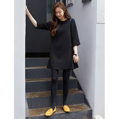 FROMBEGINNING - 3/4-Sleeve Pleated-Side A-Line Dress