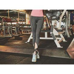 UUZONE - Cutout-Detail Beribboned Gym Leggings