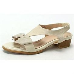 MODELSIS - Bow-Accent T-Strap Sling-Back Sandals