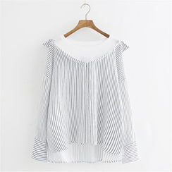 Storyland - Long-Sleeve Striped Panel Blouse