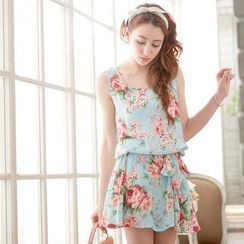 Tokyo Fashion - Sleeveless Floral Gathered-Waist Mini Dress