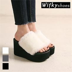 Wifky - Faux-Fur Wedge-Heel Mules