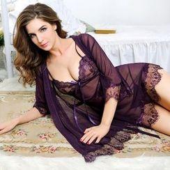 Chime - Set: Lace Robe + Nightdress + Panties