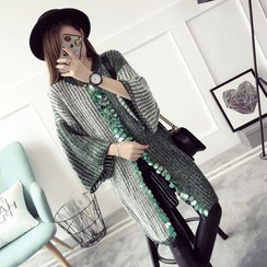 Qimi - Sequined Front Slit Long Sweater