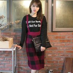 Tokyo Fashion - Check Knit Suspender Pencil Skirt