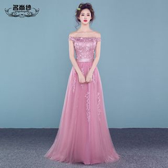 MSSBridal - Off Shoulder A-Line Evening Gown