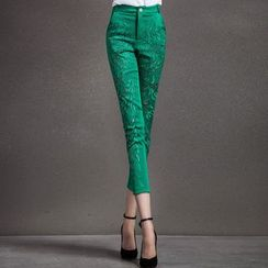 Ozipan - Beaded Cutout Slim-Fit Cropped Pants