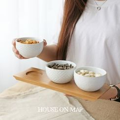 house on map - Set of 3: Relief Ceramic Bowl
