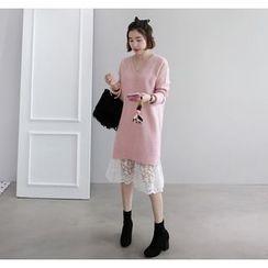 Miamasvin - V-Neck Raglan-Sleeve Knit Dress