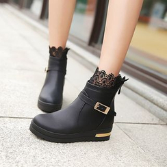 Shoes Galore - Lace Trim Short Boots