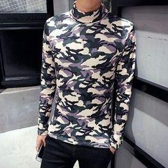 Hawoo - Turtleneck Camouflage Print T-Shirt