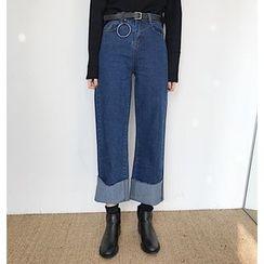 COMON - Cuffed Wide Leg Jeans