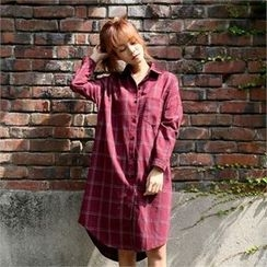 clicknme - Pocket-Front Checked Shirtdress
