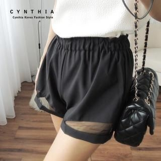 CYNTHIA - Tulle-Panel Shorts