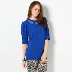 YesStyle Z - Beaded Elbow-Sleeve Tunic