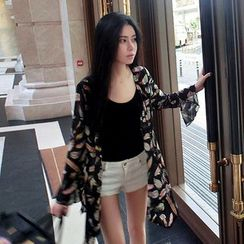 Frontline - Feather Print Long Light Jacket