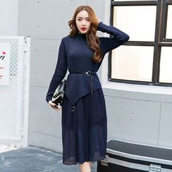 Romantica - Set: Asymmetric-Hem Dip-Back Knit Top + Plain Skirt