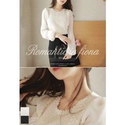 MyFiona - Round-Neck Lace-Panel Top