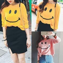 Chelsie - Smiley Face Long-Sleeve T-Shirt