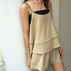 MATO - Set: Layered Chiffon Camisole Top + Shorts