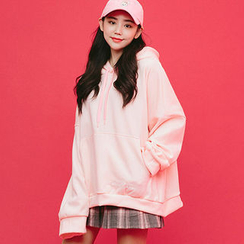 chuu - Hooded Brushed-Fleece Lined Oversized Pullover