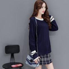 Romantica - Set: Contrast-Stripe Sweater + Plaid Skirt