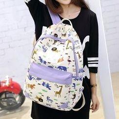 Seok - 套装: 动物印花帆布背包 + 斜挎包 + 手拿包