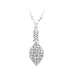 BELEC - 925 Sterling Silver Leaf Pendant with White Cubic Zircon and Necklace